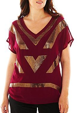 JCPenney Worthington® Embroidered-Front Tee - Plus