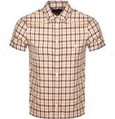 Aquascutum London York Check Short Sleeve Shirt Burgundy