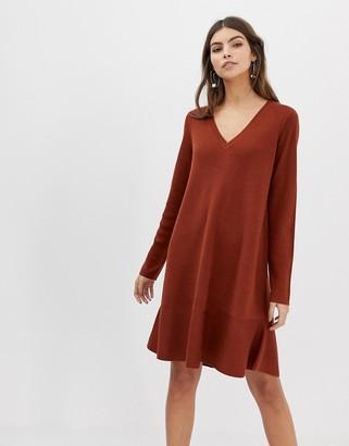 Asos Design DESIGN v neck dress in fine knit with ruffle hem