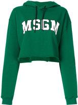 MSGM cropped logo hoodie - women - Cotton - XS