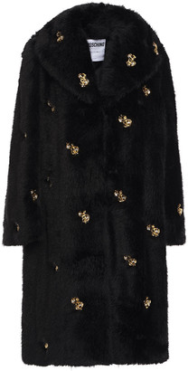Moschino Crystal-embellished Cotton-blend Faux Fur Coat