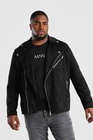 boohoo Mens Black Big And Tall Faux Suede Biker Jacket, Black
