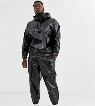 ASOS DESIGN co-ord Plus tapered joggers in leather look fabric in black