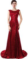 VaniaDress Mermaid Sleeveless Sequins Tulle Long Banquet Evening Dress V027LF US