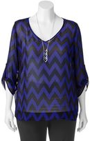 Wrapper Juniors' Plus Size Chevron V-Neck Top