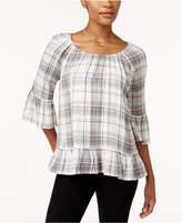 Style&Co. Style & Co Plaid Peplum-Hem Top, Created for Macy's