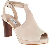 Clarks Narrative Leather T-Strap Heeled Sandals - Kendra Charm