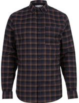 River Island MensNavy check flannel shirt