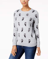 Charter Club Crew-Neck Owl-Print Sweater, Created for Macy's