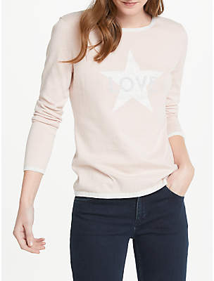 Oui Love Star Print Cotton Jumper, Rose