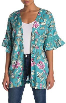 Planet Gold Floral Ruffle Sleeve Kimono