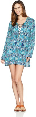 La Blanca Women's Lace Front Cover Up Tunic Dress