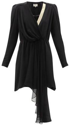 ZEUS + DIONE Lysia Draped Silk Crepe De Chine Mini Dress - Womens - Black Multi