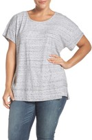 Sejour Plus Size Women's Stripe Short Sleeve Tee