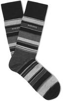 HUGO BOSS Striped Stretch Mecerised Cotton-blend Socks - Gray