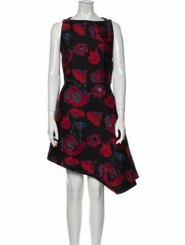 Thumbnail for your product : Osman Floral Print Knee-Length Dress Black