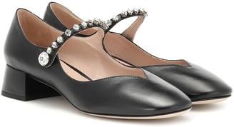 Miu Miu Embellished leather Mary Jane pumps