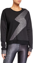 Terez Ribbed Lightning Bolt Crewneck Sweatshirt