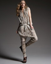 Ruched Animal-Print Silk Jumpsuit