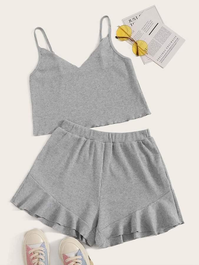 Shein Rib-knit Cami Top & Ruffle Hem Shorts