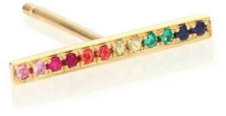 Sydney Evan Multicolor Sapphire & 14K Yellow Gold Single Bar Stud Earring
