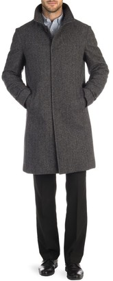 Norwegian Wool Herringbone Wool & Cashmere Down Three-Quarter Length Coat
