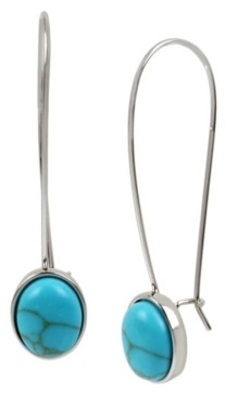 Kenneth Cole New York Silver-Tone Cabochon Long Drop Earrings