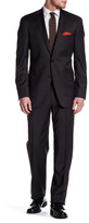 Hart Schaffner Marx Olive Woven Two Button Notch Collar Wool Suit