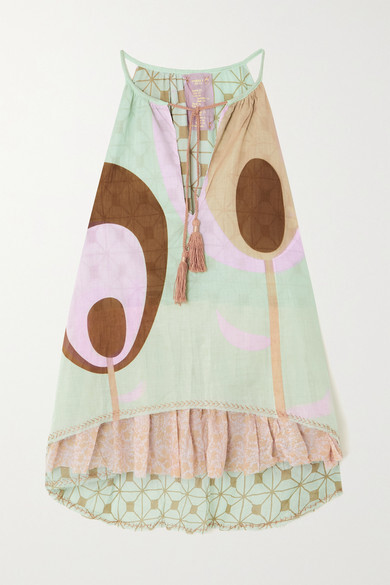Thumbnail for your product : Yvonne S Lollipop Tasseled Printed Cotton-voile Mini Dress - Blue