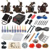 Hommii Complete Tattoo Kit 4 Tattoo Machine Guns Power Supply 10 Color Inks Power Supply Foot Pedal Needles Grips Tips