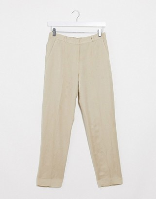 And other stories & slim leg linen pants in beige