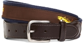 Brooks Brothers Fly Fish Embroidered Suede Webbed Belt