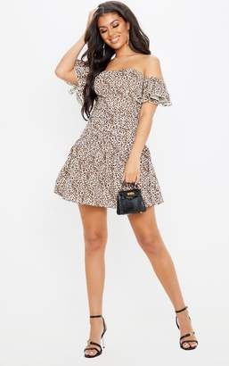 PrettyLittleThing Tan Leopard Print Bardot Pleated Waist Skater Dress