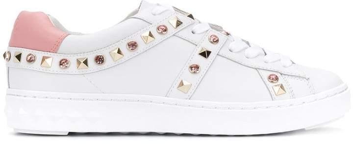 Ash stud and gem embellished sneakers
