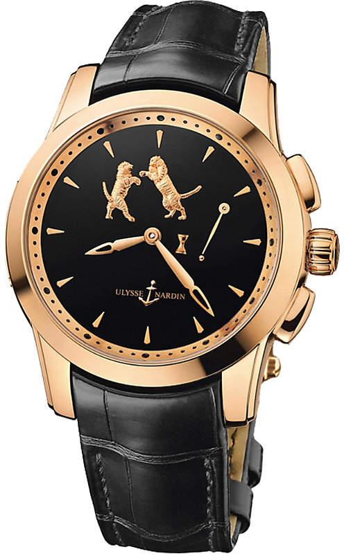 Ulysse Nardin Hourstriker 18 carat and alligator watch