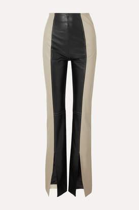 16Arlington Fonda Two-tone Leather Bootcut Pants - Black