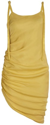 Blonde Gone Rogue Gathered Sustainable Dress - Yellow