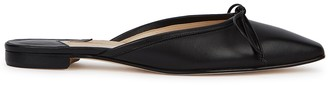 Manolo Blahnik Ballerimu Black Leather Mules
