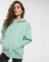 Weekday Alisa organic cotton oversized hoodie in sage green