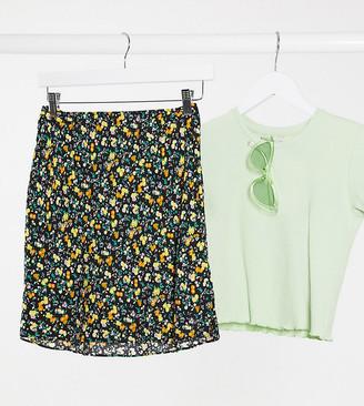 ASOS DESIGN Petite printed mini slip skirt in dark floral print