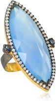 """Azaara Romantic"""" Chalcedony Marquis Ring, Size 8"""
