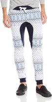 Southpole Men's Jogger Pants Fleece Fabric with All Over Nordic Mono Patterns and Drop Crotch