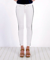 Henry & Belle Optic White Grosgrain Side-Stripe Skinny Jeans
