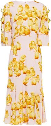 Dolce & Gabbana Embellished Printed Stretch-crepe Midi Dress