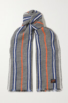 Thumbnail for your product : Loewe + Paula's Ibiza Fringed Striped Linen Scarf - Blue