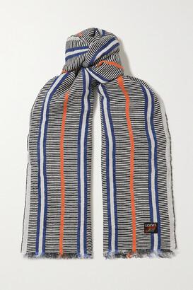 Loewe + Paula's Ibiza Fringed Striped Linen Scarf - Blue