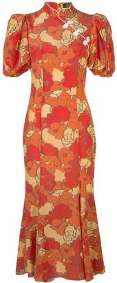 De La Vali Mandarin-collar floral-print dress