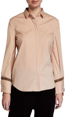 Brunello Cucinelli Cotton Poplin Shirt w/ Monili Cuffs