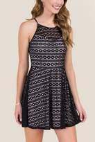 Secret Charm Emory Circle Embroidery A-line Dress - Black