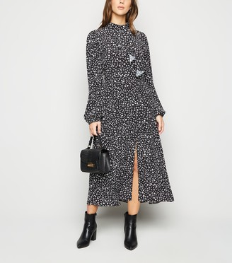 New Look Animal Print Ruffle Front Midi Dress